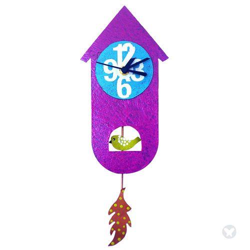 Reloj casa de pájaro fuccia