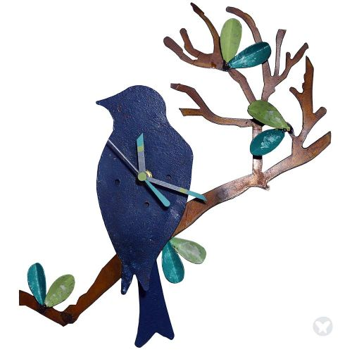 Reloj pajaro en chamizo azul aguamarina