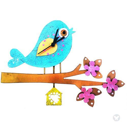 Reloj pájaro en rama azul aguamarina