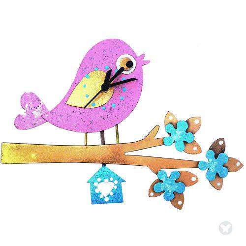 Reloj pájaro en rama rosado