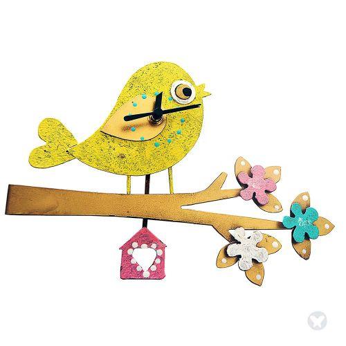 Reloj lateral pájaro en rama amarillo