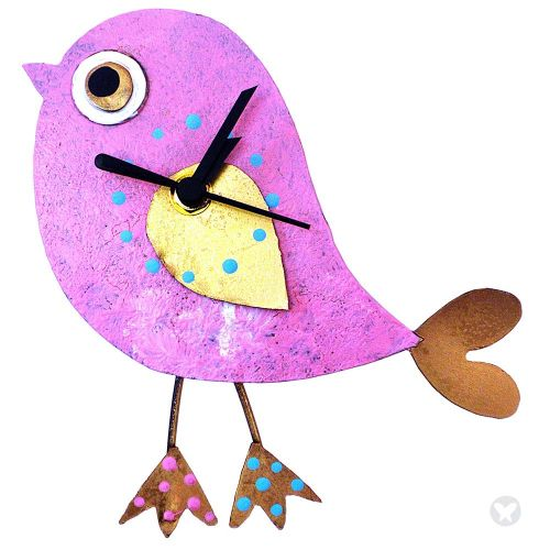 Reloj pájaro rosado