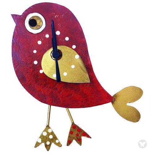 Reloj pájaro rojo