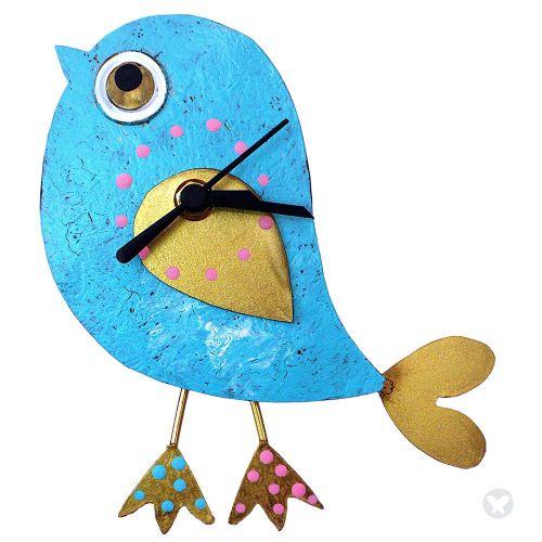 Reloj pájaro azul aguamarina