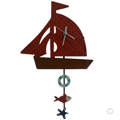 Reloj barco rojo
