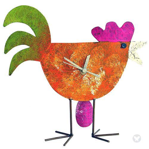Reloj gallina con huevo naranja