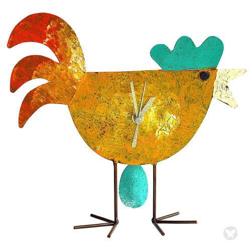 Reloj gallina con huevo amarillo