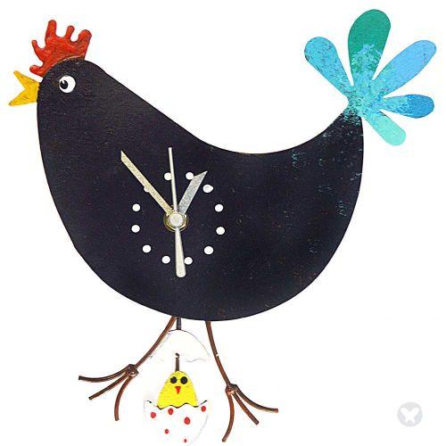 Reloj gallina huevo con pollo negro