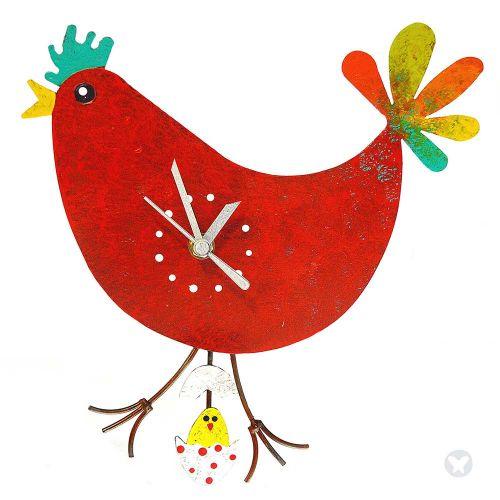 Reloj gallina huevo con pollo rojo