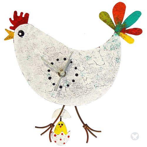 Reloj gallina huevo con pollo blanco