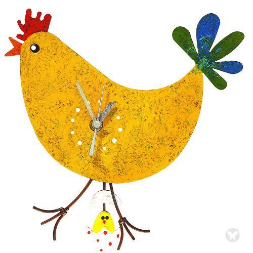 Reloj Gallina huevo con pollo amarillo