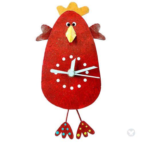 Reloj pollo saludando rojo