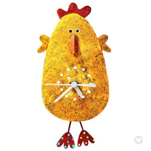 Reloj pollo saludando amarillo