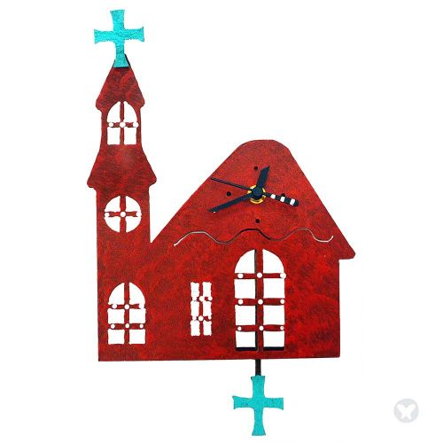 Reloj iglesia rojo