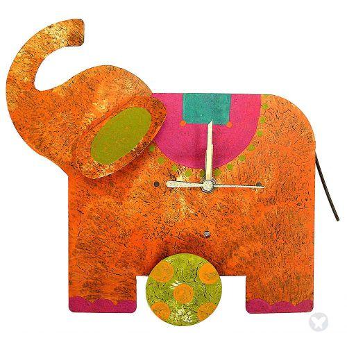 Reloj elefante mesa naranja