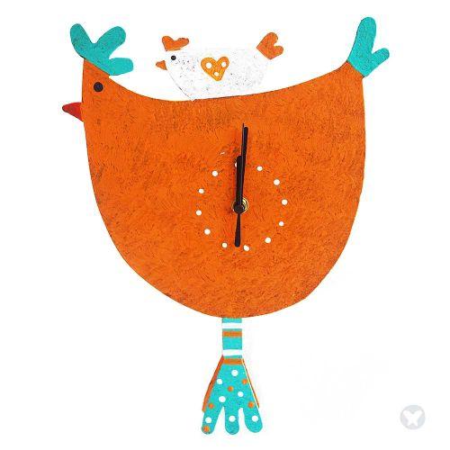 Reloj mama gallina naranja