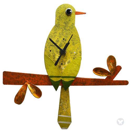 Reloj picaflor en rama amarillo