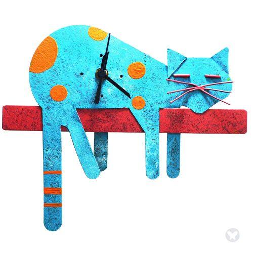 Reloj gato perezoso azul aguamarina