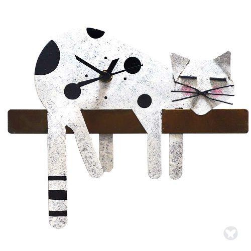 Reloj gato perezoso blanco