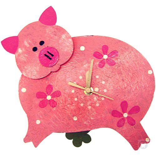 Reloj marrano rosado