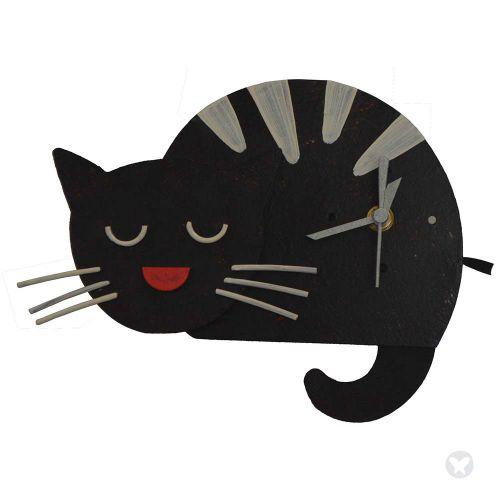 Reloj gato dormido negro