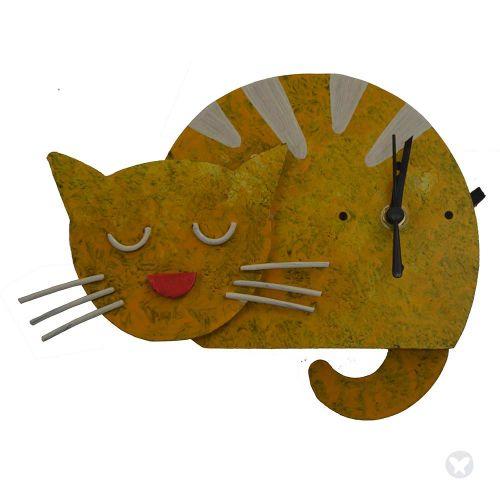 Reloj gato dormido amarillo