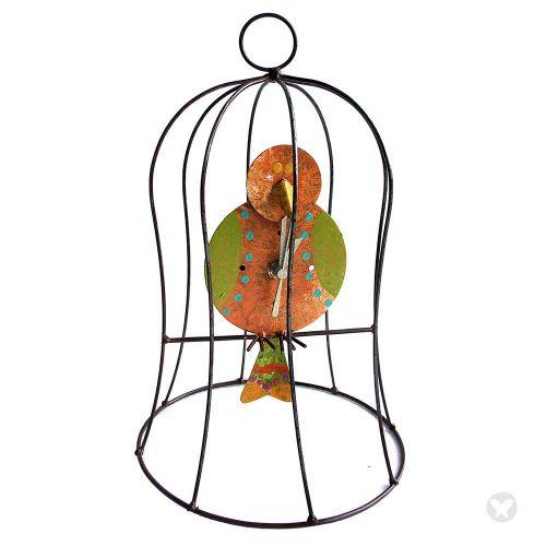 Reloj jaula  con pendulo pequeño naranja