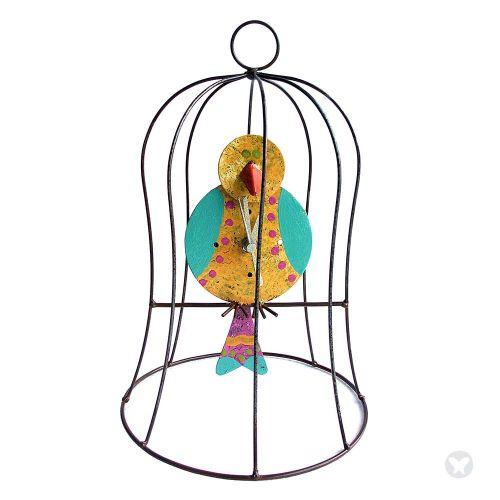 Reloj jaula  con pendulo pequeño amarillo