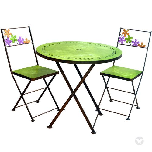 Óxidos Table with two chairs green
